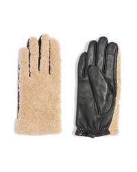 TOPSHOP - Black Faux Fur & Leather Gloves - Lyst