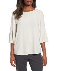 Eileen Fisher White Ruffled Sleeve Silk Top (regular & Petite)