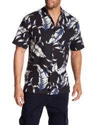 Tommy Bahama Black Windward Palms Silk Short Sleeve Regular Fit Shirt for men