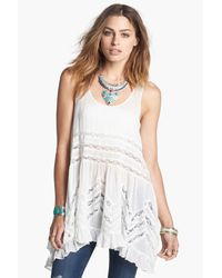 Free People - White Swingy Lace Inset Tunic - Lyst