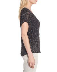 Women's Black Organic Cotton Blend Ribbon Yarn Sweater