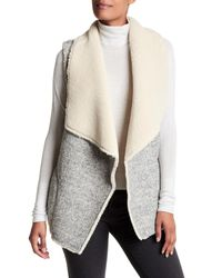 Joie | Gray Breese Draped Faux Fur Vest | Lyst