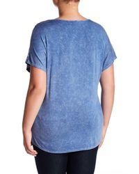 Blu Pepper - Blue Short Sleeve Bar Neck Tee (plus Size) - Lyst