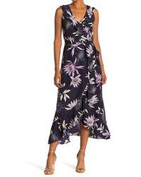 Vince Camuto Blue Floral Faux Wrap Maxi Dress