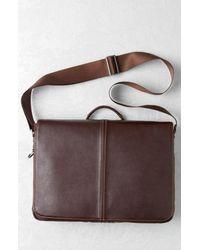 Boconi Black Tyler Slim Leather Laptop Briefcase for men