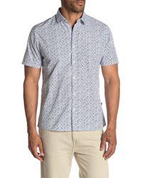Civil Society White Mini Leaf Print Regular Fit Shirt for men