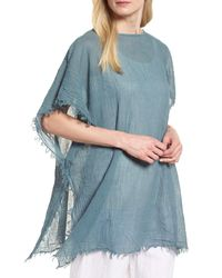 Eileen Fisher Blue Organic Cotton Poncho