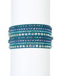 Swarovski | Blue Slake Deluxe Crystal Wrap Bracelet | Lyst