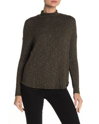 Michael Stars Green Ribbed Mock Neck Top
