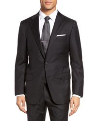 Hickey Freeman Black Hamilton Classic Fit Stripe Wool Suit for men