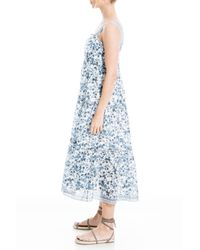 Max Studio Blue Sleeveless Printed Tiered Dress