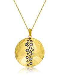 Genevive Jewelry | Metallic Gold Plated Sterling Silver Cz Tiny Circles Hammered Pendant Necklace | Lyst