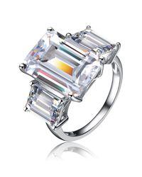 Genevive Jewelry - Metallic Sterling Silver Cz Emerald-cut 3-stone Ring - Lyst