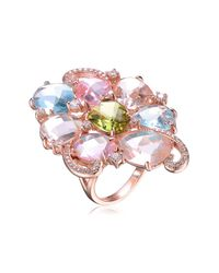 Genevive Jewelry - Metallic Rose Gold Plated Sterling Silver Multicolor Cz Cluster Ring - Lyst