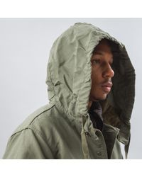 Engineered Garments Blue Highland Parka In Olive Double Cloth for men