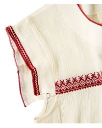 The Great - White The Needle Point Top With Red Embroidery - Lyst