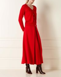 N.Peal Cashmere Red V Neck Cashmere Cardigan