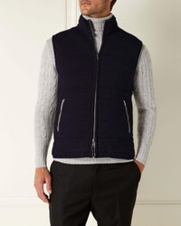 N.Peal Cashmere Blue The Mall Quilted Cashmere Gilet