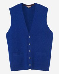 N.Peal Cashmere Blue The Chelsea Milano Cashmere Waistcoat for men
