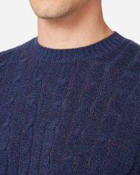 N.Peal Cashmere Blue The Thames Cable Cashmere Jumper for men