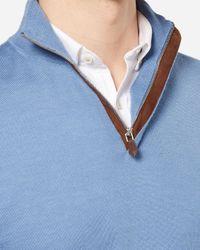 N.Peal Cashmere - Blue The Regent Fine Gauge Half Zip Sweater for Men - Lyst