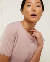 N.Peal Cashmere Multicolor Round Neck Cashmere T Shirt