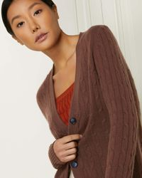 N.Peal Cashmere Brown Cable V Neck Cashmere Cardigan