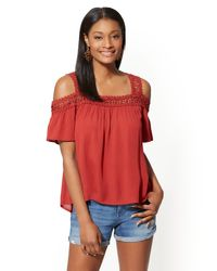 New York & Company Red Crochet-detail Cold-shoulder Blouse