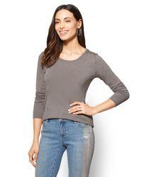 New York & Company - Gray Long-sleeve Crewneck Tee - Lyst