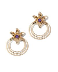 New York & Company Metallic Floral Hoop Drop Earring