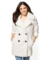 New York & Company - White Faux-fur Peacoat - Lyst