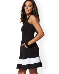 New York & Company Black Petite Colorblock Fit And Flare Cotton Dress