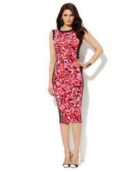 New York & Company - Pink Floral Midi Sheath Dress - Lyst