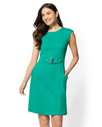 New York & Company Green Buckle-accent Cotton Fit And Flare Dress