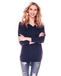 New York & Company - Blue Weekend Hoodie Sweater - Lyst