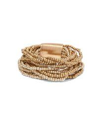 New York & Company - Metallic Multi-row Beaded Stretch Bracelet - Lyst