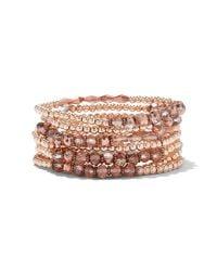 New York & Company - Pink 7-row Beaded Stretch Bracelet - Lyst