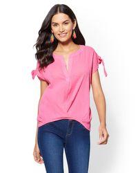 New York & Company Pink Soho Soft Shirt - Split-neck Twist-front Blouse