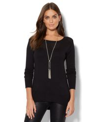 New York & Company - Black Park Avenue Tunic Sweater - Lyst