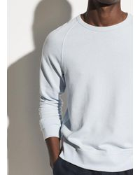 Vince Blue French Terry Garment Dye Crew for men