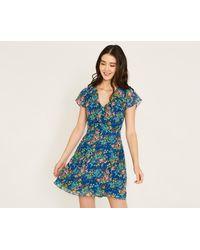 Oasis - Blue Painted Posy Tea Dress - Lyst