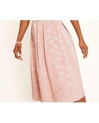 Oasis - Pink Jacquard Scallop Midi Skirt - Lyst