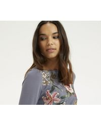 Oasis - Gray Embroidered Opium Top - Lyst