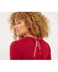 Oasis - Multicolor Rib Pointelle Bow Back Knit - Mid Red - Lyst