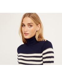 Oasis - Stripe Button Polo Jumper - Multi Blue - Lyst