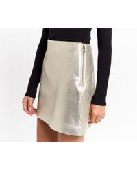 Oasis - Metallic Faux Leather Shimmer Skirt - Lyst