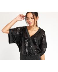 Oasis | Sequin Wrap Front - Black | Lyst
