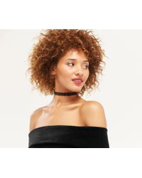 Oasis | Metallic Lace Choker Necklace - Black | Lyst