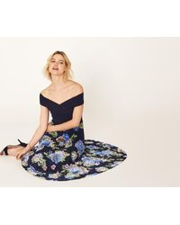 Oasis - Blue Hydrangea Bardot Pleat Midi - Lyst
