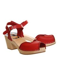 Swedish Hasbeens Red Heart High Sandals
